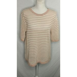 Zara collection knit top pink white short sleeve